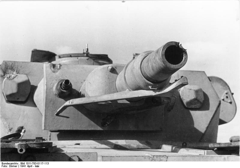 File:PzKpfw IV Ausf. E showing signs of multiple hits to the turret, including the gun barrel.jpg
