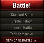 The drop-down menu below the big battle button