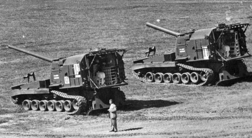 File:M-55 8-inch Self-Propelled Howitzer (right) with the M53 155mm Self-Propelled Gun..jpg