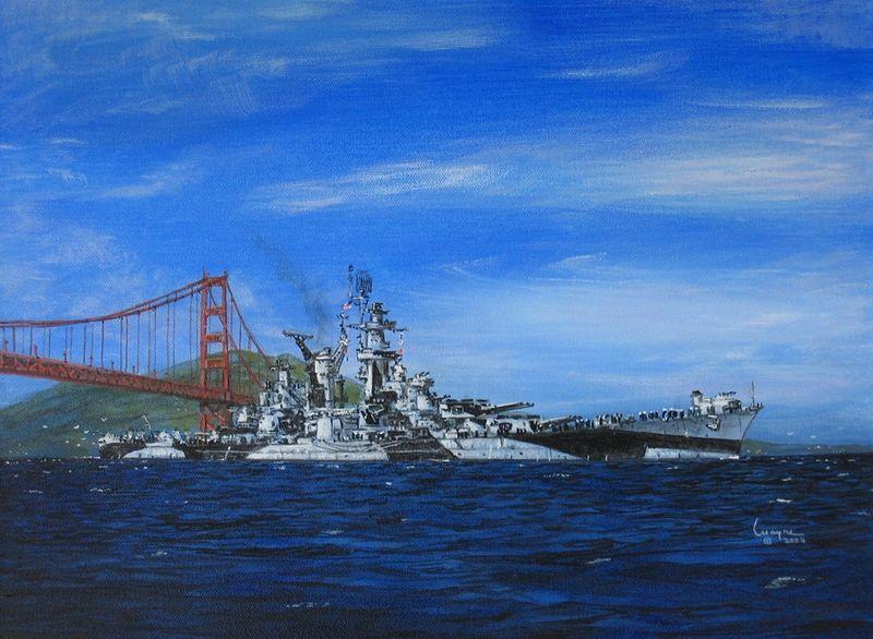 Файл:A painting of USS Alaska arriving in San Francisco Bay Jan 1945 by artist Wayne Scarpaci.jpg