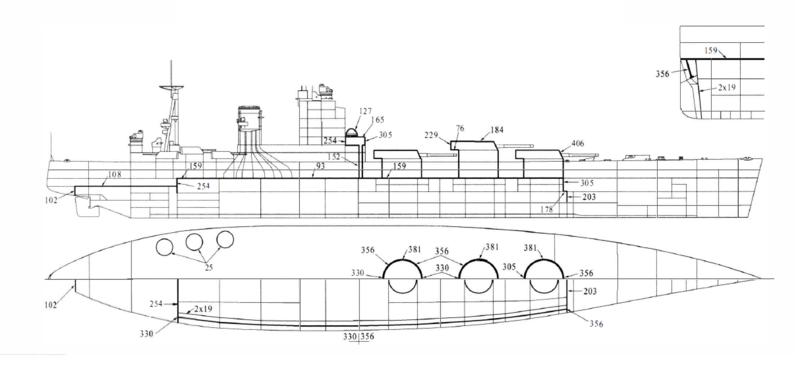 Файл:Схема броневой защиты линкора HMS Nelson.png