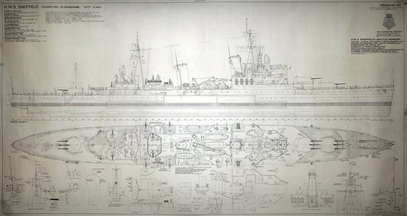 Схема крейсера HMS Sheffiled