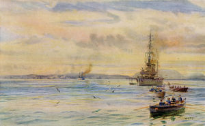 W14-Royal-Navy-Light-Cruiser-off-Scapa-Pier-by-Lionel-Wyllie.jpg