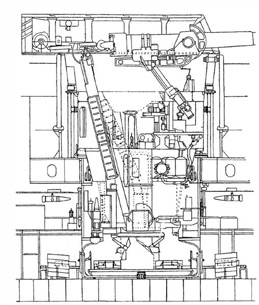 Файл:Продольный разрез башни главного калибра HMS Nelson.png