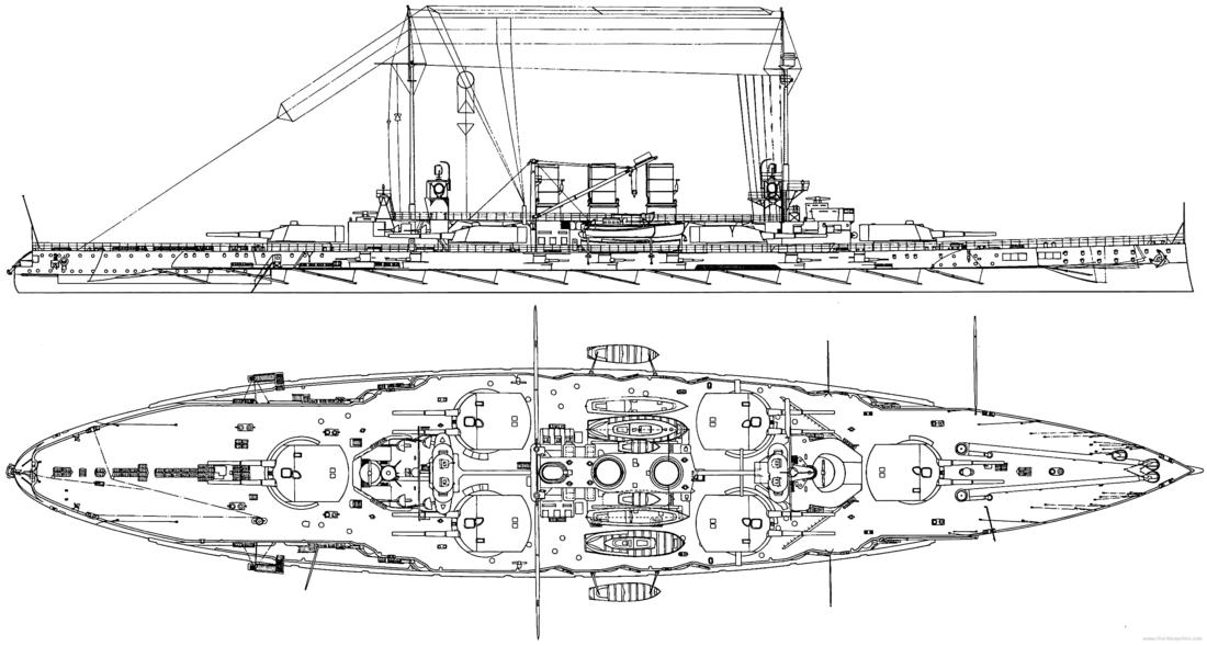 Схема линкора SMS Ostfriesland по состоянию на 1911 год