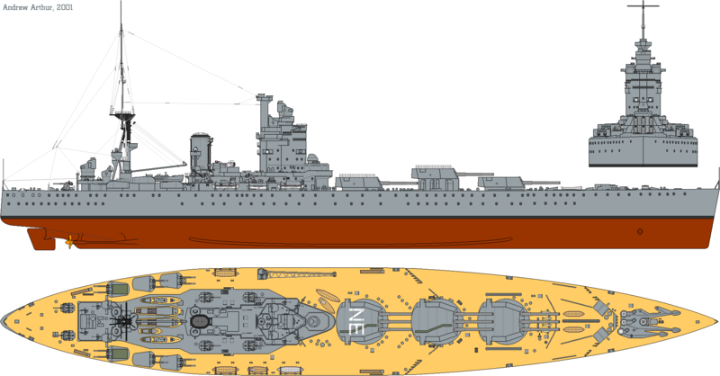 Файл:HMS Nelson (1931) profile drawing.png