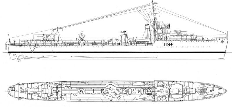 Схема эсминца HMS Whitehall