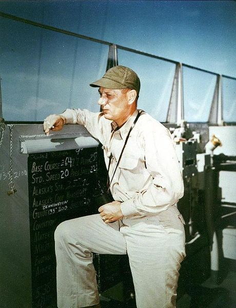 Файл:Commanding Officer Captain Kenneth H Noble on the bridge circa February 1945.jpg