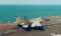 МиГ-29К после посадки на палубу