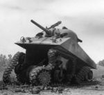 Sherman Severe Damage to hull 1944 caused by IED.jpg