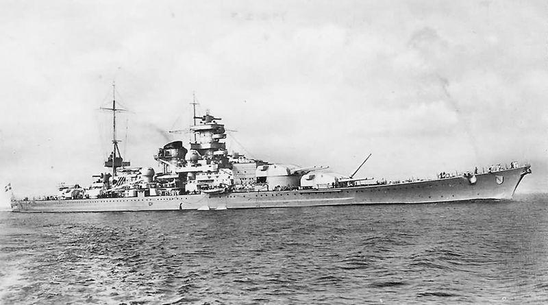 Файл:Scharnhorst поднят левый ствол башни А.jpg