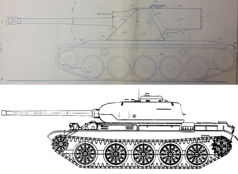 Emil_1951_size_comparison_with_T-44.jpg