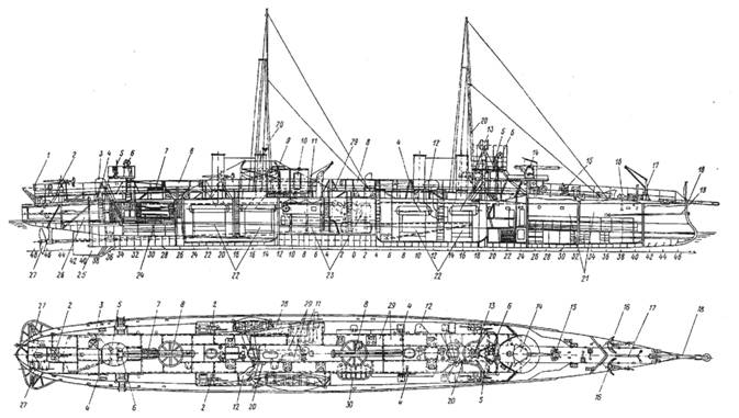 План-схема миноносец «Л-т Бураков» 1907 г.
