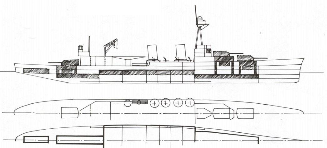 Эскиз дизайна крейсера типа New Orleans