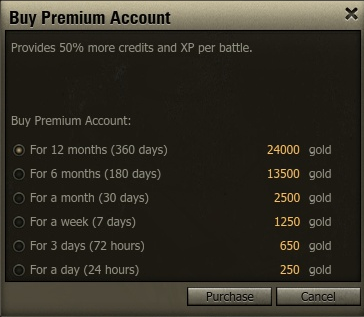 Gold costs for premium accounts
