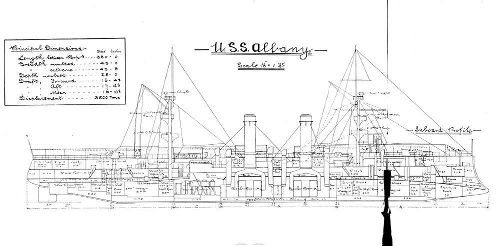 Схема крейсера USS Albany