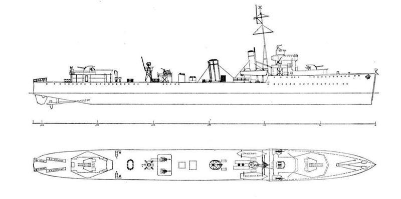 Схема эсминца HMS Vanity после WAIR модернизации