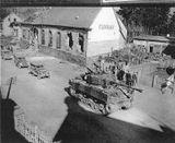 M4A3E8 of the 781st Tank Battalion leads Combat Team 398 elements through the Camp de Bitche March 1945