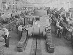 Chrysler tank arsenal. Workers in the huge tank Chrysler arsenal near Detroit, putting the tracks on one of the giant M-3 tanks.jpg