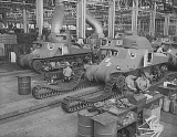 Tank production at Chrysler tank arsenal. First series were are powered by 400 horsepower Wright Whirlwind aviation engines