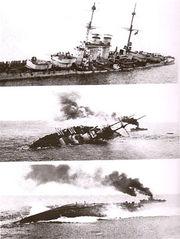 Кадры видео хроники потопления корабля SMS Szent Istvan