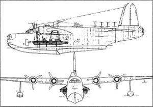 Чертеж переоборудованной летающей лодки Sunderland для доставки Chariot