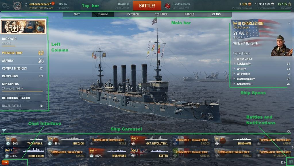 The Port screen, the landing zone of all World of Warships players.