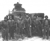 Crew of M-3 Tank #309490, D Co., 2nd Bn., 12th Ar. Reg., 1st Arm. Div. at Souk el Arba, Tunisia. November 1942
