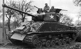 4A3 76 mm Medium Tank in Europe in early 1945. Has add on armor kit and an additional 30 cal MG above the loader's hatch