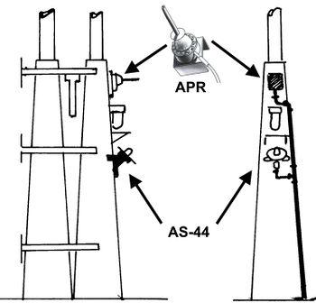 Схема расположения антенн станции оповещения об излучающем сигнале (ранний вариант)