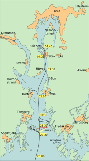 Маршрут крейсера Blücher в Осло-фьорде