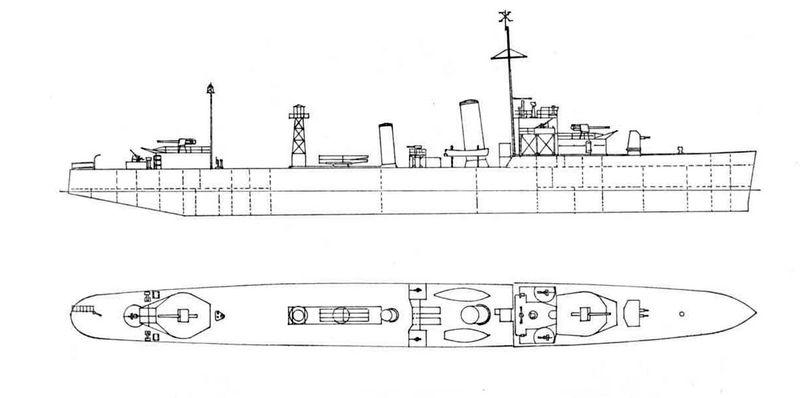 Схема эсминца HMS Wivern после модернизации в эскорт дальнего действия со спаренной 102-установкой на орудийной позиции А